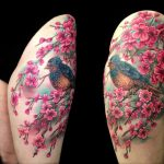 bird and cherry blossom tattoo by Jo Harrison
