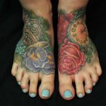 roses and pocketwatch foot tattoos by Jo Harrison