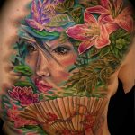 geisha and fan tattoo by Jo Harrison