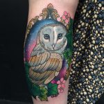 Owl in frame with galaxy night sky, flowers and ivy by Charlotte Timmons