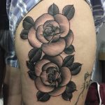 Black and grey roses by Charlotte Eleanor Timmons at Birmingham tattoo studio, Modern Body Art