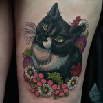 Flowers and cat portrait by Charlotte Eleanor Timmons, Birmingham tattoo studio