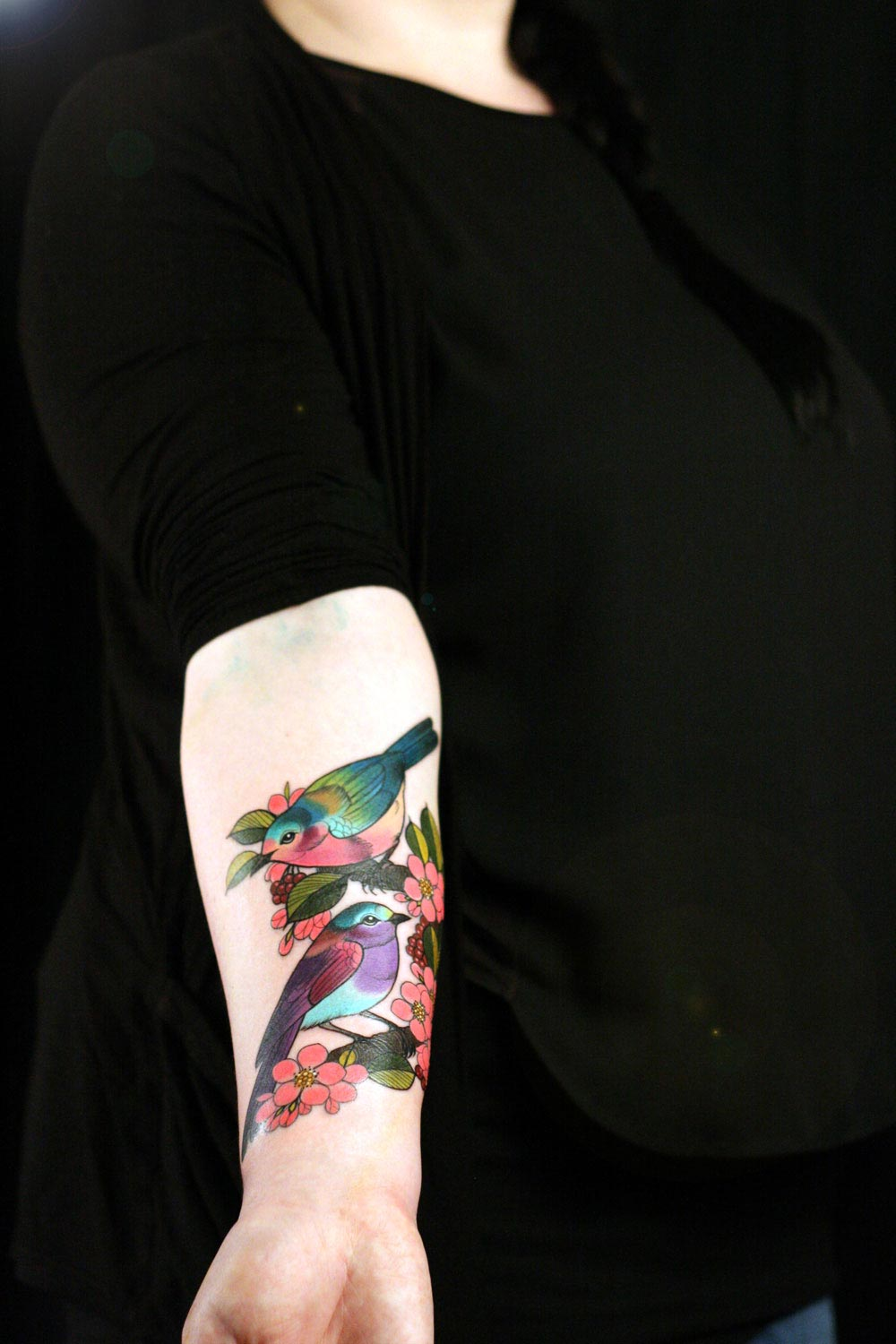 Birds on forearm by Charlotte Timmons