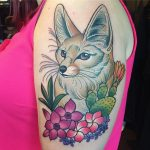Fennec fox, flowers and cactus by Charlotte Timmons at Modern Body Art, Birmingham tattoo studio