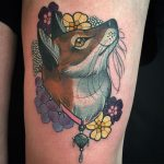 Fox and flowers tattoo, Charlotte Eleanor