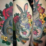 Hare and teapot tattoo by Charlotte Timmons at Modern Body Art