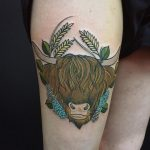 Highland cow tattoo by Charlotte Eleanor