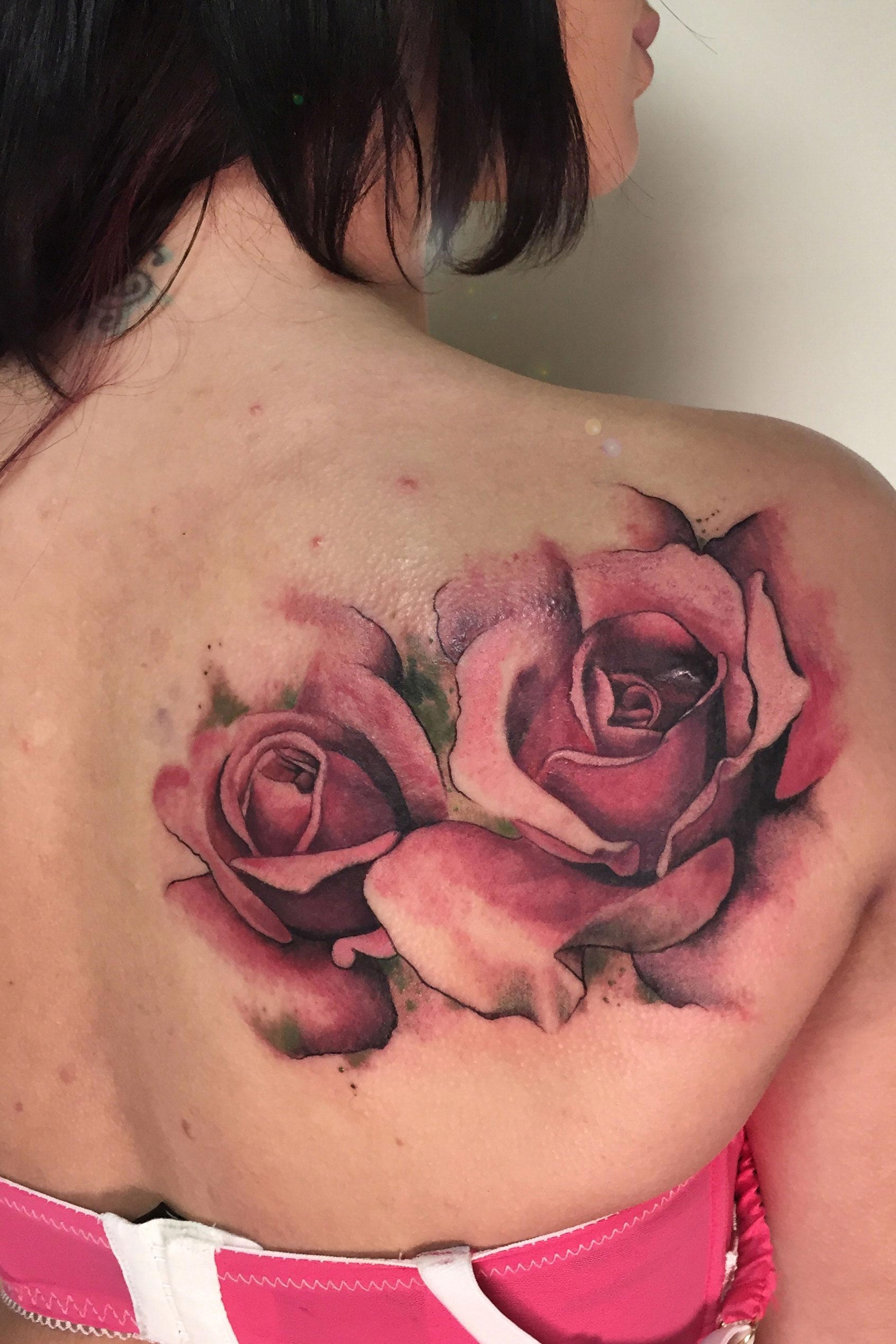 Graphic watercolour roses by Matt Hunt at Modern Body Art in Birmingham