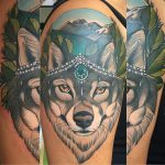 Jewelled fox and mountain tattoo, Modern Body Art, Birmingham