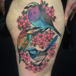 Kingfisher and cherry blossom tattoo by Charlotte Timmons