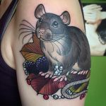 Rat, berry and leaf tattoo by Charlotte Eleanor at Modern Body Art