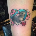 Mouse and berry in a heart tattoo by Charlotte Timmons