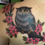 Owl on branch with cherry blossom, Charlotte Eleanor, Modern Body Art, Birmingham