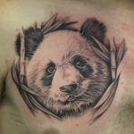 black and grey panda tattoo