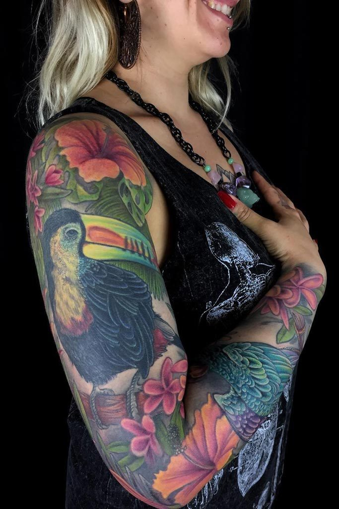 Toucan sleeve by Jo Harrison, Modern Body Art, Birmingham