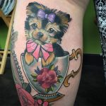 Yorkie in a teacup tattoo by Charlotte Timmons, Modern Body Art