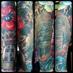 rose, lighthouse and ship sleeve by Ricardo Modern Body Art