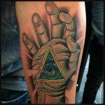 hand with all seeing eye tattoo by Ricardo, Modern Body Art, Birmingham