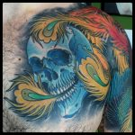 skull and phoenix by Ricardo Pedro Modern Body Art