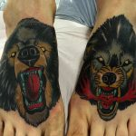 wolf and bear tatoos by Ricardo Pedro