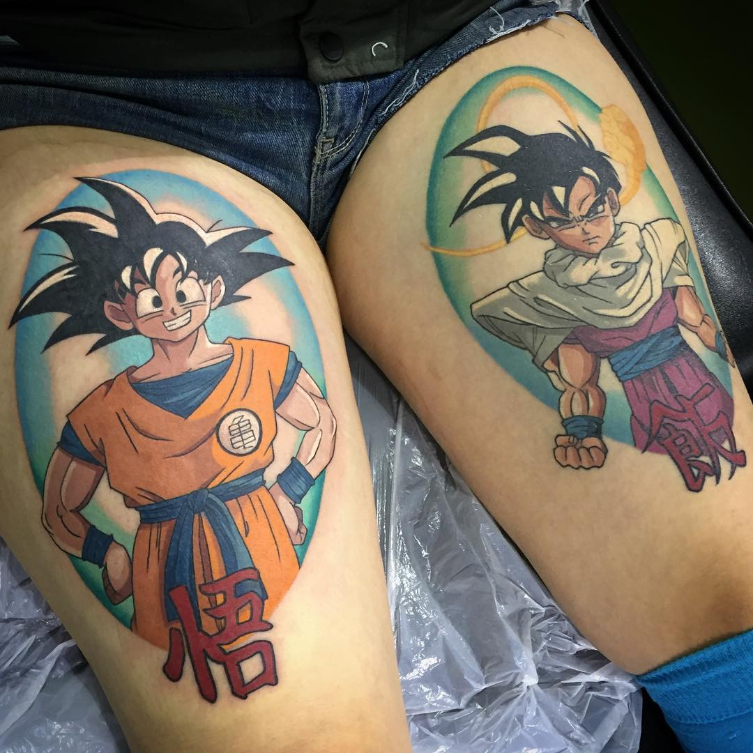 Dragonball Z Goku And Gohan By Gracie Gosling Modern Body Art