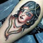 Lady head with beads by Frances