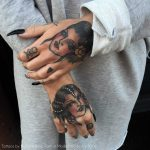 Traditional lady head tattoos by Frances