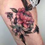 traditional, tattoo, floral tattoo, tattoo birmingham, modern body art, frances anne faith, tattoos, arm tattoo, bee, bee tattoo