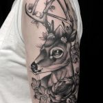 traditional, tattoo, floral tattoo, tattoo birmingham, modern body art, frances anne faith, tattoos, arm tattoo, deer, stag, deer tattoo, stag tattoo