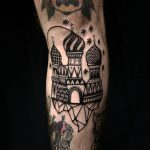 Blackwork russian palace tattoo by Ethan Jones Modern Body Art