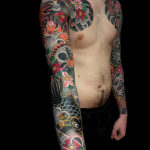 Japanese sleeve- chest piece - koi, - tiger - cherry blossoms