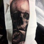 Realistic Skull, compass and map. Pirate themed tattoos