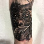 Baby monkey - gorilla portrait realism, black and grey