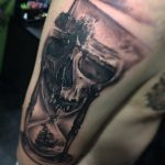 skull hourglass tattoo by Greg Bishop