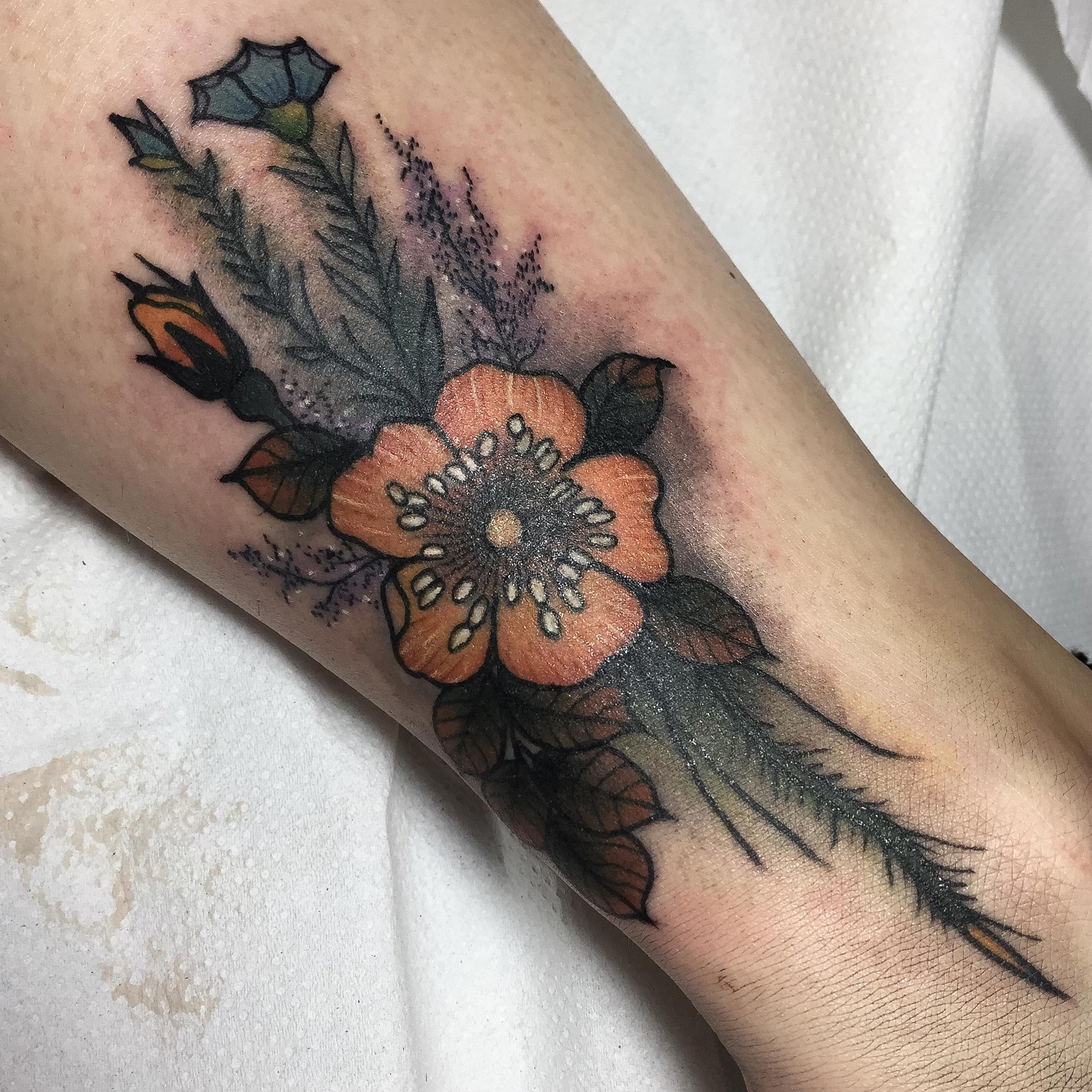 Bouquet Of Flowers Tattoo By Frances Modern Body Art