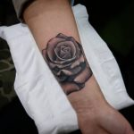 realistic black and grey rose by Ethan Jones