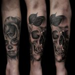 realistic skull and rose tattoo by Ethan Jones