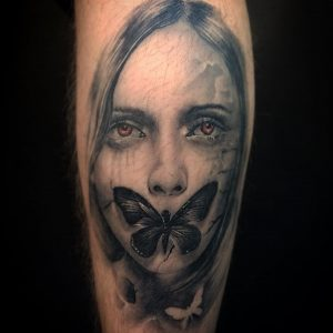 Healed black and grey tattoo by Greg Bishop at Modern Body Art