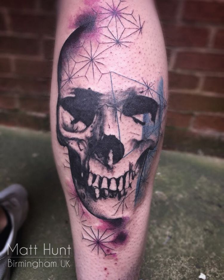 Skull and geometry tattoo by Matt Hunt
