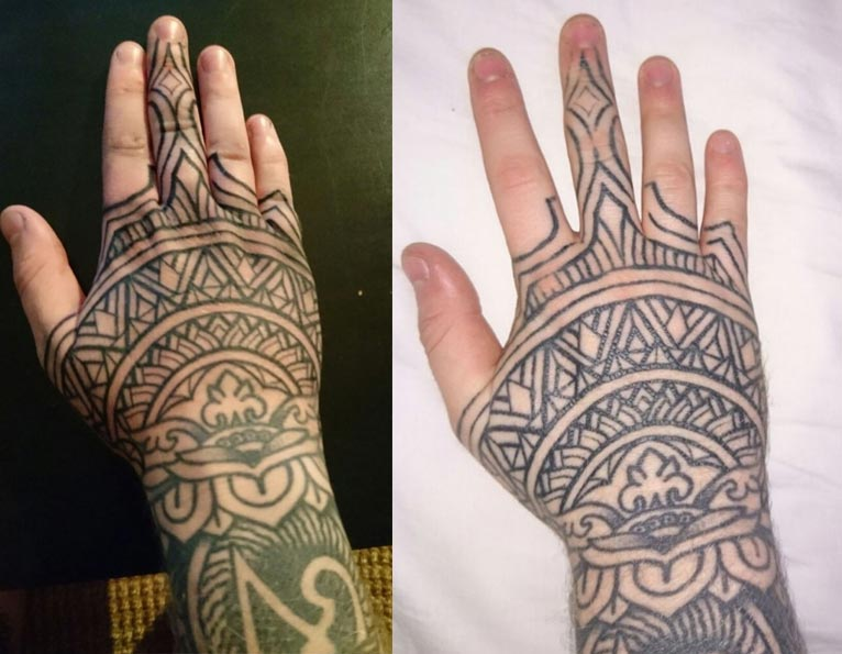 Fresh vs healed photo of a hand and fingers tattoo