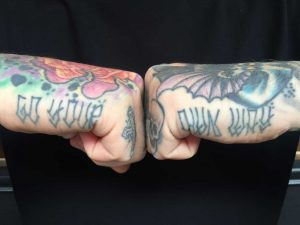 Chris got lucky with the side of his hands and has only had these tattooed once