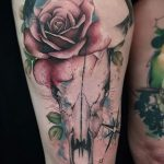 bufallo skull and rose tattoo by Matt Hunt