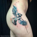 bird in flight thigh tattoo by Matt Hunt Modern Body Art
