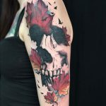 skull and autumn oak leaves tattoo by Matt Hunt