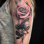 rose and eye tattoo by Matt Hunt Birmingham
