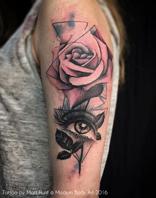 Eye In A Rose Tattoo: Abstract And Graphic Tattoos By Matt Hunt, Birmingham UK