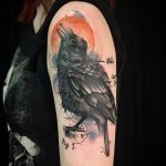 raven and sun watercolour tattoo by Matt Hunt