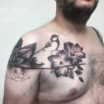 balck flowers and bird with watercolour background by Matt hunt