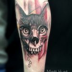cat and skull morphed tattoo by Matt hunt