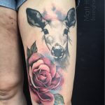 watercolour deer and roses on thigh